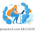 Vector concept office business illustration with a woman working at laptop 48131639
