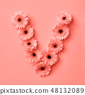 Floral letter V made of flowers on a color background of the year 2019 Living Coral Pantone. Part of 48132089