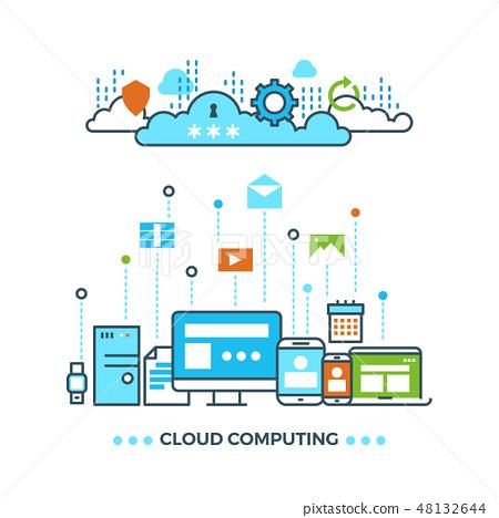 Digital cloud computing, computer data storage vector business concept 48132644