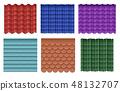 Roof tiles. Roofing materials vector set 48132707