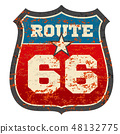 Vintage route 66 road sign with grunge distressed rusted texture vector illustration 48132775