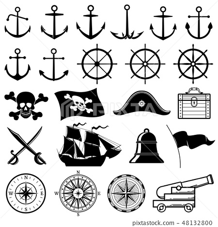 Vintage nautical, marine, navy, pirate vector icons 48132800