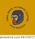 Monkey logo for t-shirt. Face or Head of Wild Animal Predator for banner or poster. Portrait 48135617