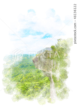 Hell peek at sawama watercolor painting 48136122