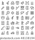 Police equipment icons set, outline style 48138194