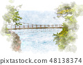 Suspension Bridge on the Shirokesaki Coast Watercolor style 48138374