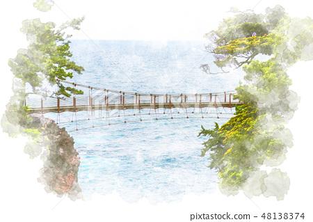 在Shirokesaki海岸水彩風格的吊橋 48138374