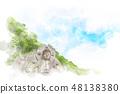 鋸山의 대불 수채화 화풍 48138380