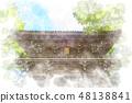 Takao mountain meditation watercolor painting 48138841