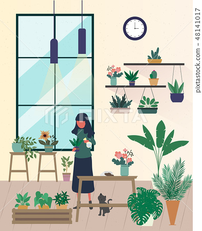 Young men and women caring for houseplants. 48141017