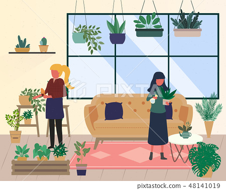 Young men and women caring for houseplants. 48141019
