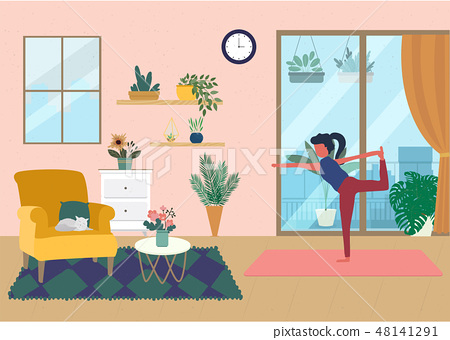 Time for Yoga in houseplants  48141291