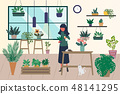 Young men and women caring for houseplants.  48141295