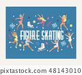 Figure skating vector backdrop girl character skates on competition and professional girlie skater 48143010