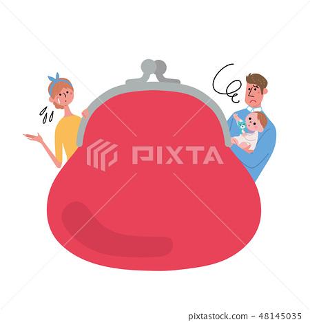 錢包家庭例證框架 48145035
