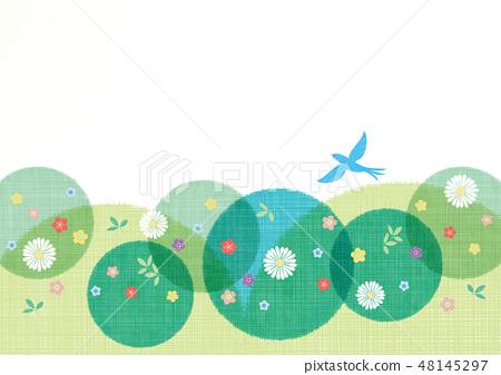 배경 소재 - 여름 이미지 (꽃, 새) 2 테크 48145297