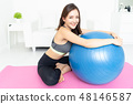 Portrait beautiful Asian young sporty woman. Girl working out wi 48146587