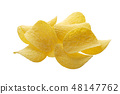 Heap of Potato chips isolated on white background 48147762