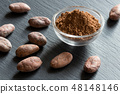 Raw unroasted cocoa powder with raw cacao nibs 48148146