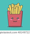 cartoon junk food on green background 48149722