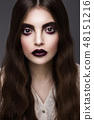 Beauty Fashion Model Girl with Dark Make up.  48151216