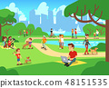 People in city park. Relaxing men and women outdoor with smart phones vector illustration 48151535