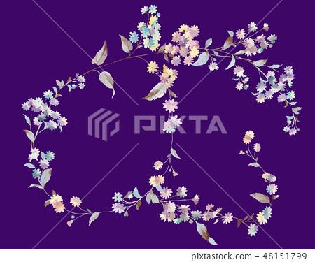 다채로운 작은 국화 꽃 그림 48151799