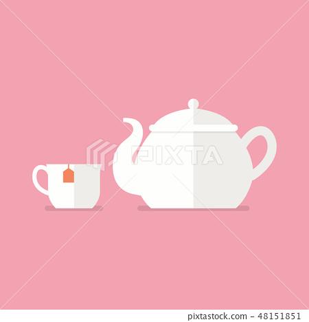 Tea ceramic teapot and cup 48151851