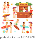 Sunbathing young people on beach. Fun couple on summer vacation 48151920