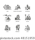 Family and parents, marriage and motherhood thin line vector icons set 48151959