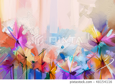 Abstract painting of spring flower 48154116