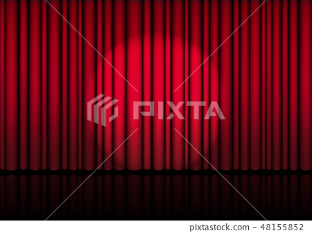 3D Mock up Realistic Open Red Curtain on Stage 48155852