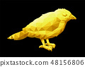 Low poly illustration with little yellow bird 48156806