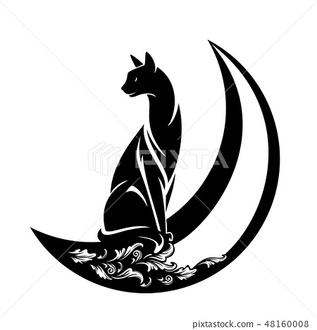black cat and crescent moon vector design stock illustration 48160008 pixta black cat and crescent moon vector