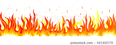 Burning fire. Flame on a white background 48160570
