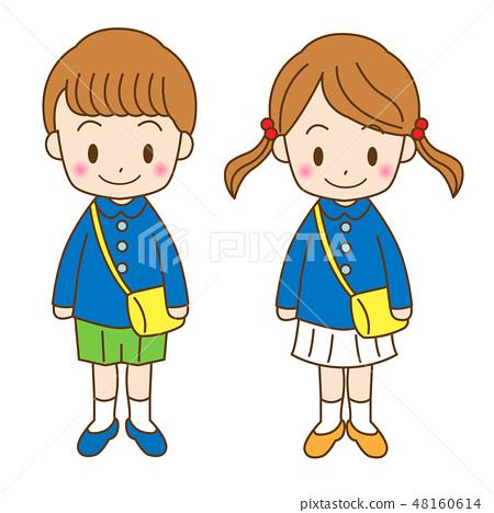 男孩和女孩的孩子的例證 48160614