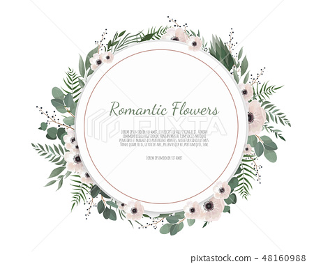Floral wreath with green eucalyptus leaves, flower rose, anemone . Frame border with copy space 48160988