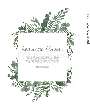Floral wreath with green eucalyptus leaves, flower rose, anemone . Frame border with copy space. 48160990