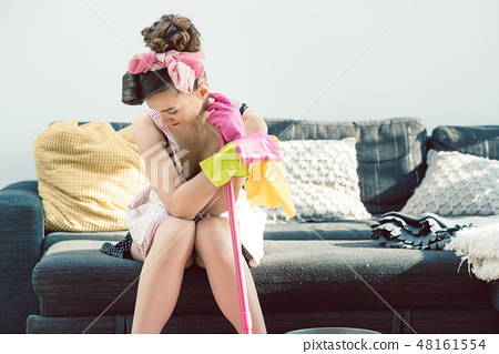 Depressed and sad housewife suffering from all the bad things in her life 48161554