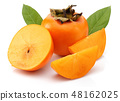 Persimmon fruit with slice and leaf isolated 48162025