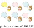 一名婦女的例證有各種各樣的表示和講話泡影的 48162532