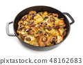 A photo of a braiser with cooked vegetables, potato, green peas, mushrooms, on a white background 48162683