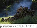 Pile of timbers and axe in a camp area around lake 48163113