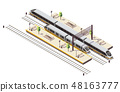Train Railway Isometric Composition  48163777