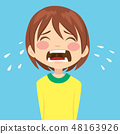 Cute unhappy little boy crying sad 48163926