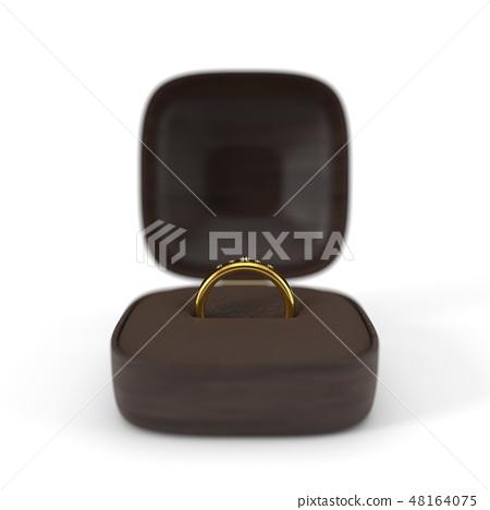 golden wedding ring in box. 3d illustration 48164075