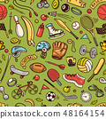 Sport Seamless pattern. Icons doodle style. Equipment for fitness and training. Symbols of health 48164154