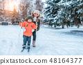 스키, 타다, 겨울 48164377