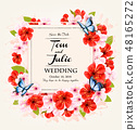 Beautiful wedding invitation desing with flowers 48165272