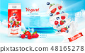 White yogurt with fresh berries in box.  48165278